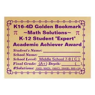 K16-4D Golden Bookmark ~Math Solutions~Jr Hi 100ct Business Card Template