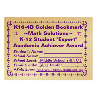 K16-4D Golden Bookmark ~Math Solutions~Jr Hi 100ct Large Business Card