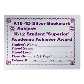 K16-4D Silver Bookmark ~All Subjects~ 100ct Large Business Card