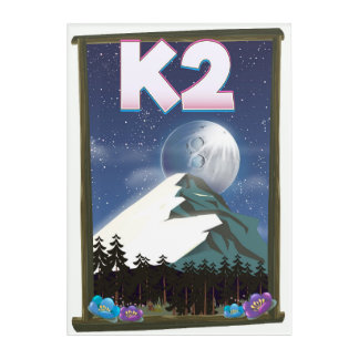 K2 Mountain travel poster Acrylic Wall Art