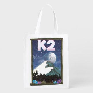 K2 Mountain travel poster Reusable Grocery Bag