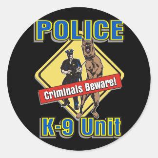 K9 Criminals Beware Round Sticker