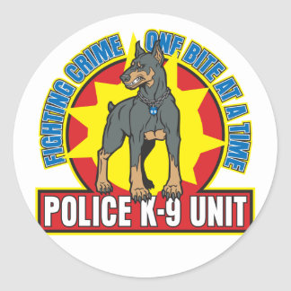 K9 Doberman Bite Round Sticker