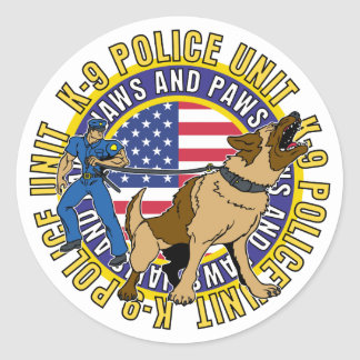 K9 Jaws and Paws Classic Round Sticker