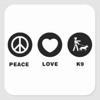 K9 Police Square Stickers