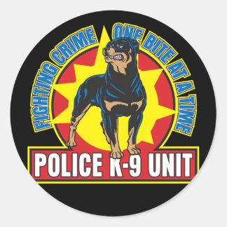 K9 Rottweiler Bite Round Sticker