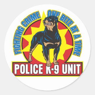 K9 Rottweiler Bite Round Stickers