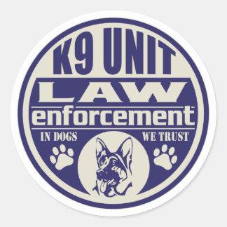 K9 Unit In Dogs We Trust Blue Round Sticker