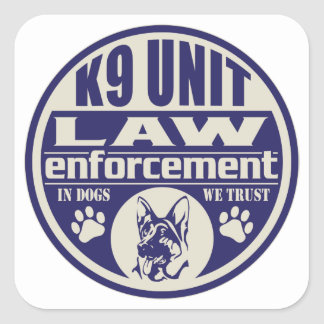 K9 Unit In Dogs We Trust Blue Square Stickers