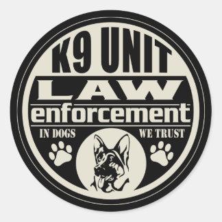 K9 Unit In Dogs We Trust Round Sticker