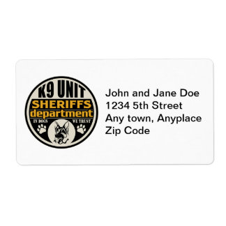 K9 Unit Sheriff's Department Shipping Label
