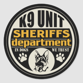K9 Unit Sheriff's Department Round Stickers