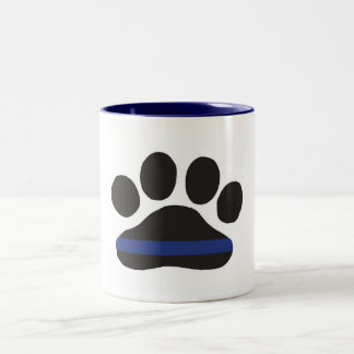 K-9 Blue Line Paw Print Coffee Mug