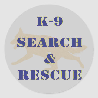 K-9 Search and Rescue GSD Classic Round Sticker
