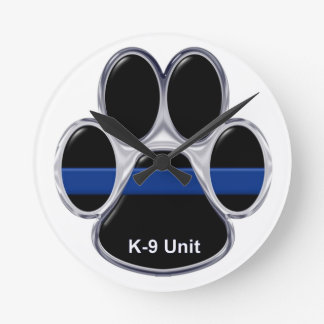 K-9 Unit Thin Blue Line Round Clock