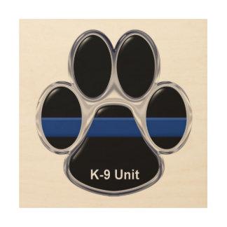K-9 Unit Thin Blue Line Wood Print