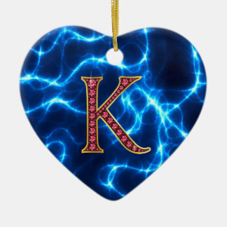 "K Faux-""Ruby"" Monogram  With Lightening Ceramic Ornament"