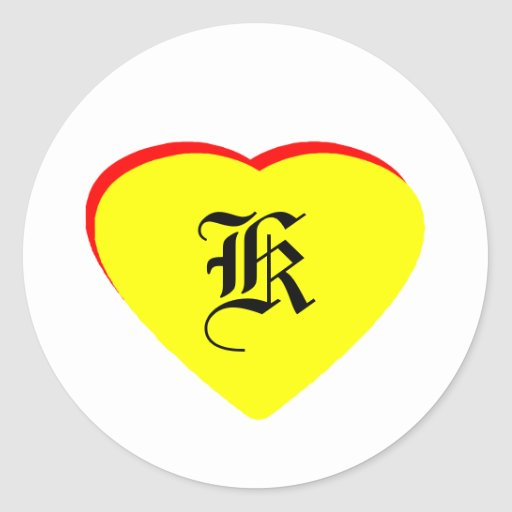 """""""K"""" Heart Yellow Red Wedding Invitation The MUSEUM Round Stickers"""