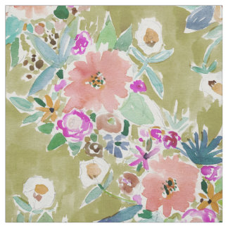 K.I.S.S. Colorful Floral Watercolor Fabric