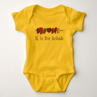 K is for Kebab Shish Kebabs Veggie Skewer Alphabet Baby Bodysuit