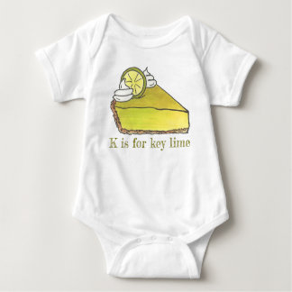 K is for Key Lime Pie Slice Foodie Letter Alphabet Baby Bodysuit