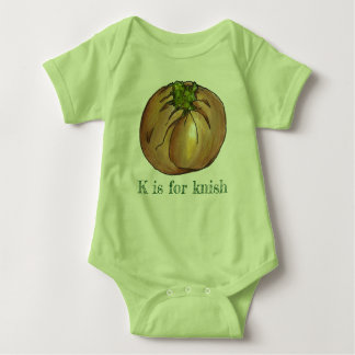 K is for Knish Spinach Knishes Jewish Deli Food Baby Bodysuit