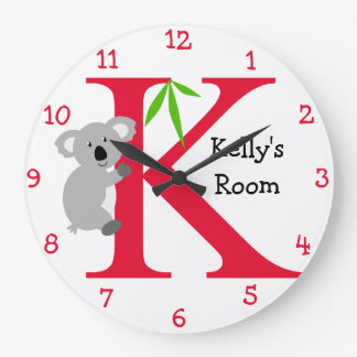 K is for Koala and Kelly-Child's Bedroom Large Clock