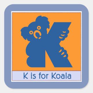 K Is For Koala Animal Alphabet for Kids Square Sticker