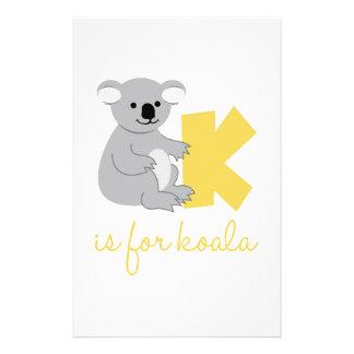K Is For Koala Stationery