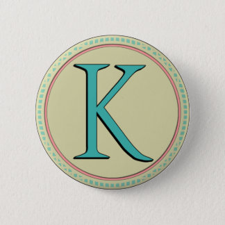 K MONOGRAM LETTER 2 INCH ROUND BUTTON
