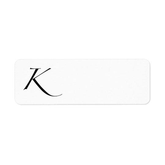 K - Zapfino Return Address Label