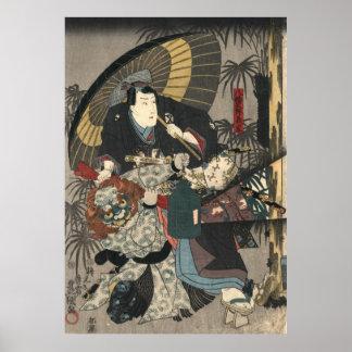 Kabuki Actors Triptych 1847 Left Poster