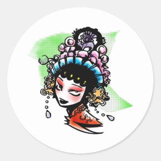Kabuki Performer Classic Round Sticker