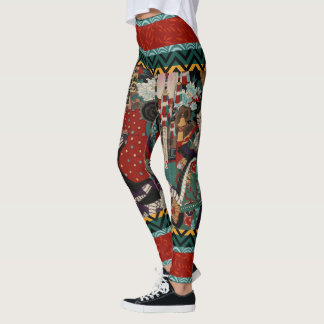 Kabuki Samurai Warriors Woodblock Leggings