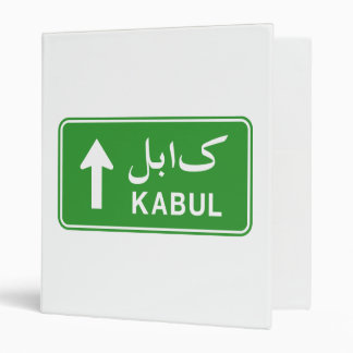 Kabul, Afghanistan Highway Traffic Street Sign 3 Ring Binder
