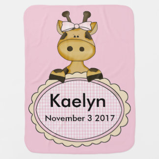 Kaelyn's Personalized Giraffe Baby Blanket