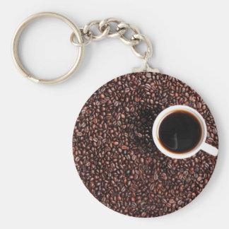 Kaffebohnen with coffee cup basic round button keychain