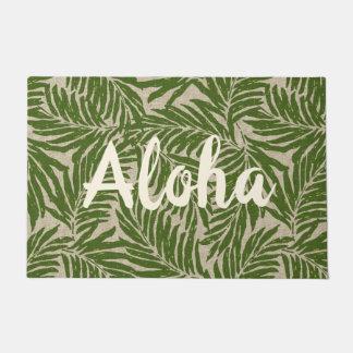 Kahanu Palms Hawaiian Faux Linen Texture Aloha Doormat