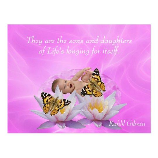 Kahlil Gibran On children and babies Postcard