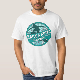 Kailua Kona Hawaii teal surfer logo shirt