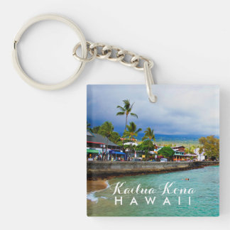 Kailua Kona Pier Hawaii Oil Paint Digital Art Double-Sided Square Acrylic Keychain