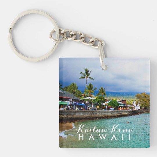 Kailua Kona Pier Hawaii Oil Paint Digital Art Double-Sided Square Acrylic Keychain