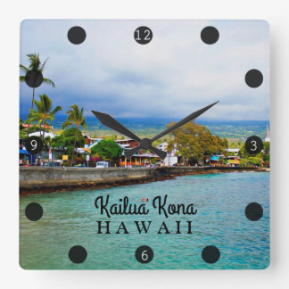 Kailua Kona Pier Hawaii Oil Paint Digital Art Square Wall Clock