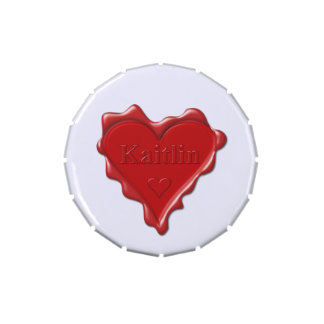 Kaitlin. Red heart wax seal with name Kaitlin