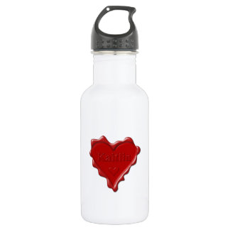 Kaitlin. Red heart wax seal with name Kaitlin 532 Ml Water Bottle