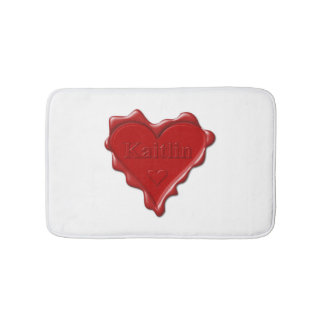 Kaitlin. Red heart wax seal with name Kaitlin Bath Mat