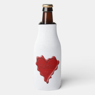 Kaitlin. Red heart wax seal with name Kaitlin Bottle Cooler