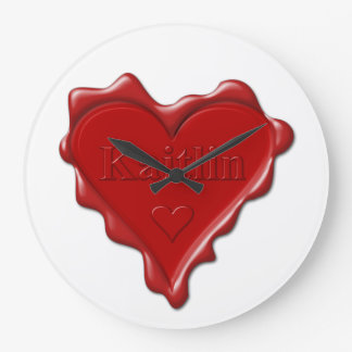Kaitlin. Red heart wax seal with name Kaitlin Clocks