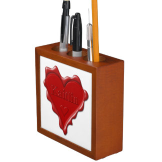Kaitlin. Red heart wax seal with name Kaitlin Desk Organizer