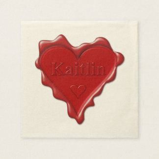 Kaitlin. Red heart wax seal with name Kaitlin Disposable Napkin